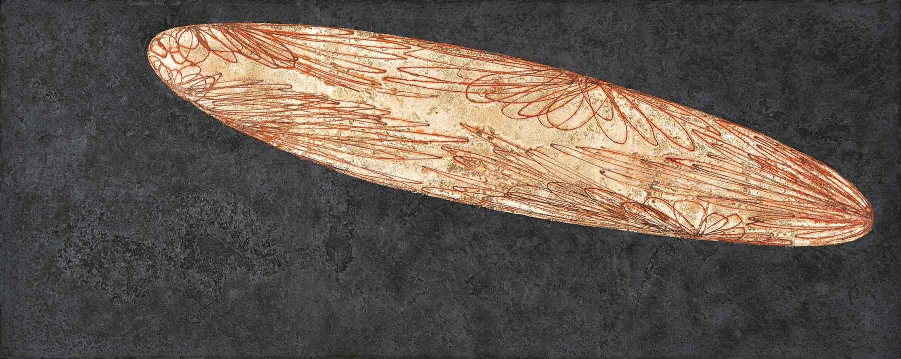 ... lost ..., 80 x 100 cm, Pigmente und Oxyde auf Eisen, 2012